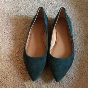 J Crew Forrest green pointed flat. Worms once. 6